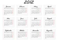 Calendario per 2012 in tedesco Fotografia Stock Libera da Diritti