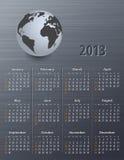 Calendario per 2013 con il globo Fotografie Stock Libere da Diritti