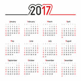 Calendario per 2017 Fotografia Stock