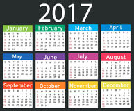 Calendario per 2017 Fotografie Stock