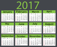 Calendario per 2017 Fotografia Stock