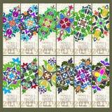 Calendario per 2019 anni Elementi decorativi d'annata della mandala illustrazione di stock