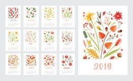Calendario per 2019 anni Insieme dei modelli della pagina con i mesi decorati con i bei fiori e le piante stagionali su bianco illustrazione di stock