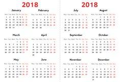 Calendario per 2018 anni su fondo trasparente illustrazione vettoriale