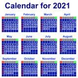 Calendario per 2021 anno. Immagini Stock
