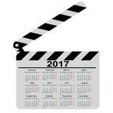 Calendario per 2017, bordo di valvola di film Illustrazione di vettore Fotografia Stock