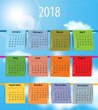 Calendario per 2018 come la lavanderia sulla corda da bucato illustrazione di stock