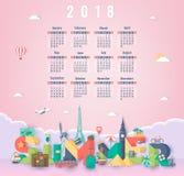 Calendario per 2018 con i punti di riferimento famosi del mondo La settimana comincia domenica Vettore Immagini Stock
