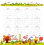 Calendario per 2016 con il fumetto e gli animali divertenti Ciao autunno royalty illustrazione gratis