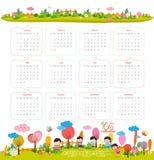 Calendario per 2016 con il fumetto ed animali e bambini divertenti Ciao autunno illustrazione di stock