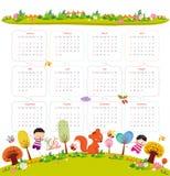 Calendario per 2016 con il fumetto ed animali e bambini divertenti Ciao autunno royalty illustrazione gratis