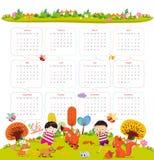 Calendario per 2016 con il fumetto ed animali e bambini divertenti Ciao autunno illustrazione vettoriale