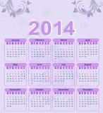 Calendario per 2014 con un modello floreale Fotografie Stock Libere da Diritti