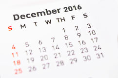 Calendario per dicembre Immagine Stock