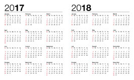 Calendario per 2017 e 2018 Fotografia Stock