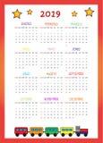 Calendario 2019 per I Bambini 2019 arkivfoton