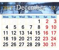 Calendario per il dicembre 2017 con il fiume e la foresta di inverno Fotografia Stock Libera da Diritti