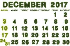 Calendario per il dicembre 2017 su fondo bianco Fotografie Stock Libere da Diritti