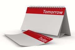 Calendario per il domani su priorità bassa bianca Fotografia Stock