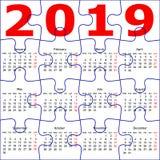 Calendario per il fondo di struttura del puzzle da 2019 nuovi anni illustrazione di stock