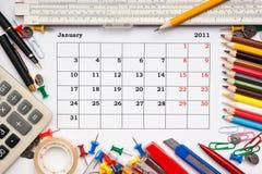 Calendario per il gennaio 2011 Fotografie Stock
