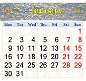 Calendario per il gennaio 2017 con l'immagine di neve Fotografia Stock Libera da Diritti