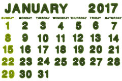 Calendario per il gennaio 2017 su fondo bianco Fotografia Stock Libera da Diritti
