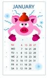 Calendario per il maiale 2019; nuovo anno; Gennaio; illustrazione di stock