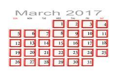 Calendario per il marzo 2017 Immagine Stock Libera da Diritti