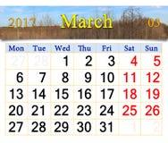 Calendario per il marzo 2017 con gli alberi in primavera Fotografie Stock Libere da Diritti