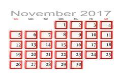 Calendario per il novembre 2017 Fotografie Stock