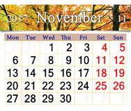 Calendario per il novembre 2017 con il parco autunnale giallo Immagini Stock