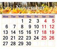 Calendario per il novembre 2017 con le foglie gialle Fotografie Stock Libere da Diritti