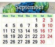 Calendario per il settembre 2017 con i frutti Fotografie Stock Libere da Diritti