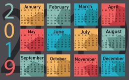 Calendario per il vettore 2019 illustrazione di stock