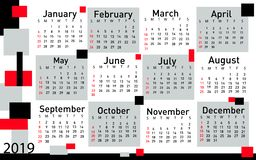 Calendario per il vettore 2019 royalty illustrazione gratis