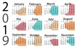 Calendario per il vettore 2019 illustrazione di stock