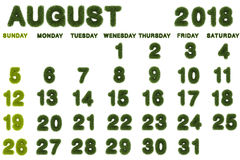 Calendario per l'agosto 2018 su fondo bianco Fotografia Stock