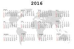 Calendario 2016 per l'ordine del giorno con la mappa di mondo illustrazione vettoriale