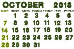 Calendario per l'ottobre 2018 su fondo bianco, 3d che rende verde Immagini Stock Libere da Diritti