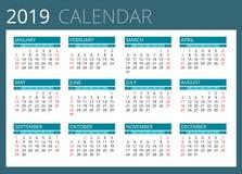 Calendario per 2019 La settimana comincia domenica Progettazione semplice di vettore illustrazione vettoriale