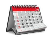 Calendario per luglio Illustrazione isolata 3d Immagine Stock