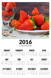 Calendario per 2016 Strawberies dolci Fotografie Stock