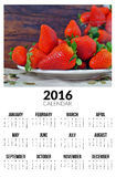 Calendario per 2016 Strawberies dolci Immagine Stock Libera da Diritti