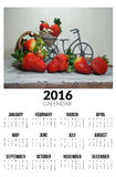 Calendario per 2016 Strawberies dolci Fotografia Stock