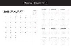 Calendario per 2018 su fondo bianco per l'organizzazione e il busin Immagini Stock