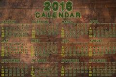Calendario per 2016 su fondo di legno Fotografie Stock Libere da Diritti