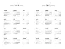 Calendario 2018 plantilla de 2019 años ilustración del vector