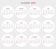 Calendario plantilla de 2018 años forma del círculo Fotos de archivo