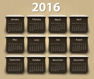 Calendario plantilla del diseño del vector de 2016 años Imagen de archivo libre de regalías